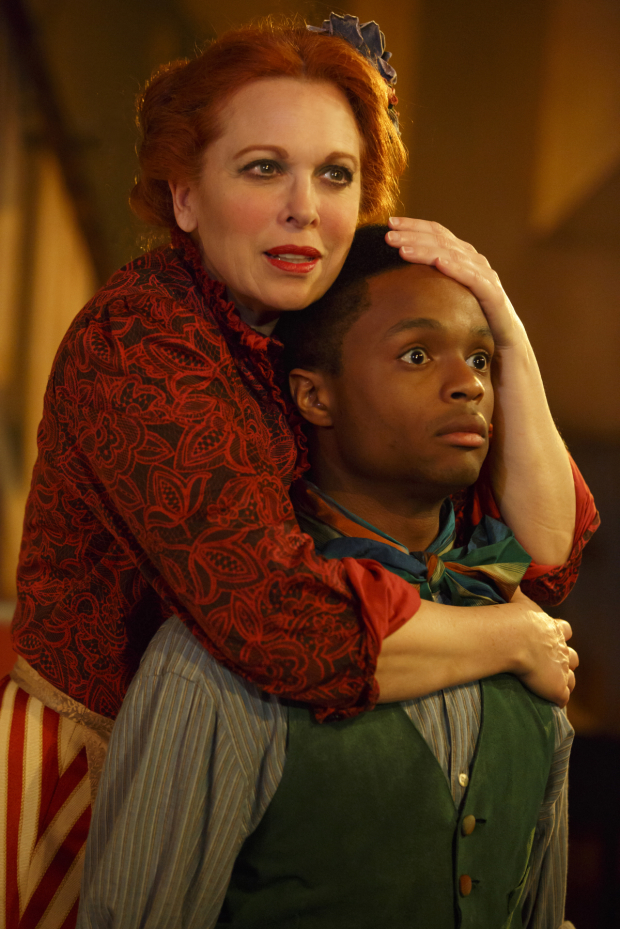 <p>Carolee Carmello in a scene with John-Michael Lyles.</p><br />(© Joan Marcus)
