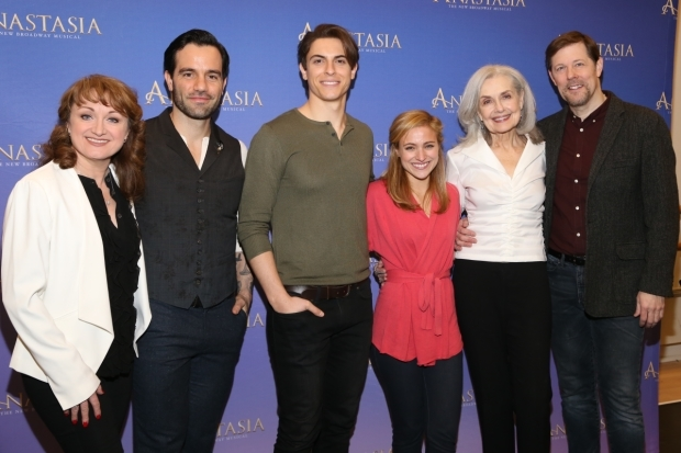 <p>Caroline O&#39&#x3B;Connor, Ramin Karimloo, Derek Klena, Christy Altomare, Mary Beth Peil, and John Bolton star in <em>Anastasia</em>.</p><br />(© Tricia Baron)