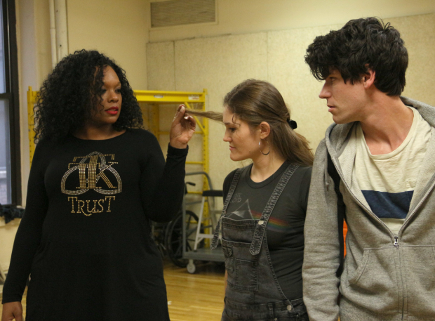 <p>Carrie Compere, Kristin Stokes, and Chris McCarrell rehearse <em>The Lightning Thief</em>.</p><br />(© David Gordon)