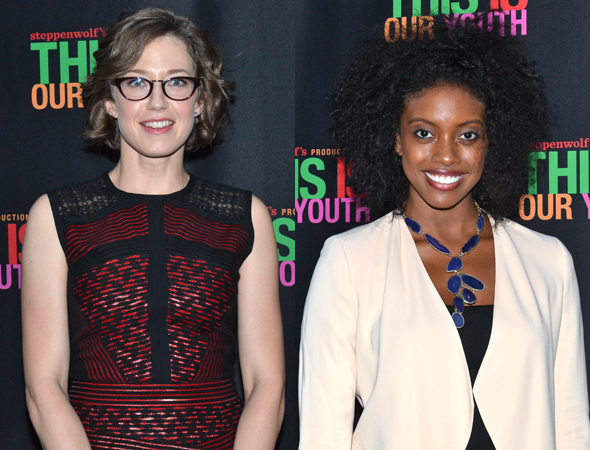 <p>Carrie Coon and Condola Rashad pose for photos on their way into the theater.</p><br />(© David Gordon)