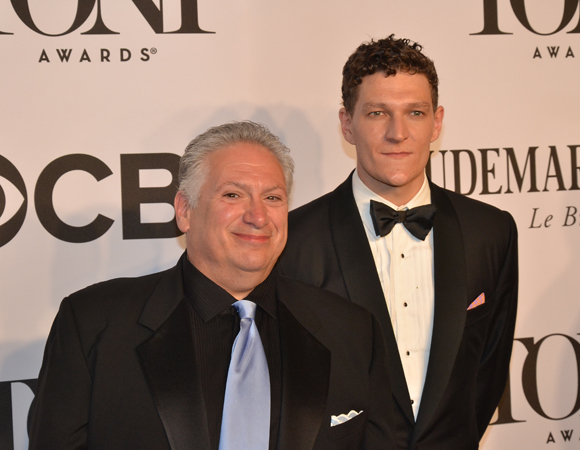 <p><em>Casa Valentina</em> playwright Harvey Fierstein stands with cast member Gabriel Ebert, who went home with a Tony Award last year for his performance in <em>Matilda the Musical</em>.</p><br />(© David Gordon)