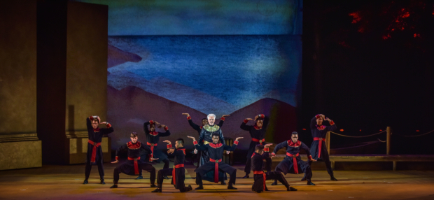 <p>Cassidy joins the ensemble onstage.</p><br />(courtesy of The Muny)
