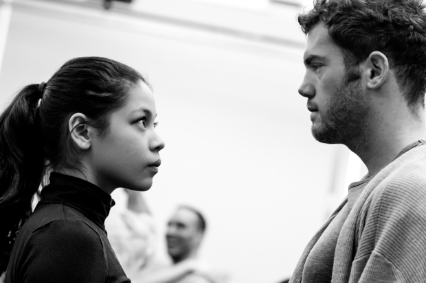 <p>Castmates Eva Nobelzada and Alistair Brammer remain focused during rehearsals.</p><br />(© Matthew Murphy)