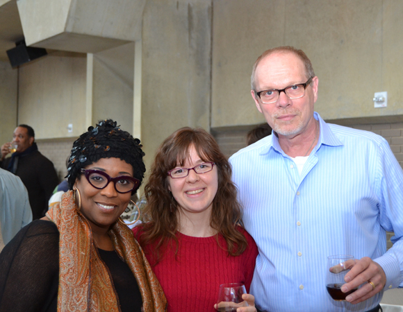 <p>Cast member E. Faye Butler, Associate General Manager Marissa LaRose, and Executive Producer Edgar Dobie celebrate the upcoming D.C. production of the popular Leiber and Stoller revue. </p><br />(© Arena Stage)