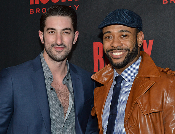 <p>Cast member James Brown III (right) poses for photos with his pal, Brandon Rubendall.</p><br />(© David Gordon)
