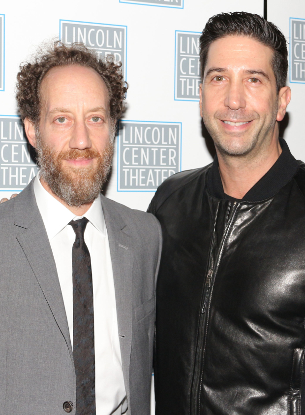 <p>Cast member Joey Slotnick pals around with his friend David Schwimmer.</p><br />(© David Gordon)