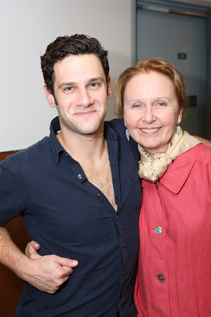 <p>Cast member Justin Bartha (<em>The New Normal</em>) and actress Kate Burton (<em>Grey&#39&#x3B;s Anatomy</em>) pose backstage after the opening night performance. </p><br />(© 2013 Ryan Miller/Capture Imaging)