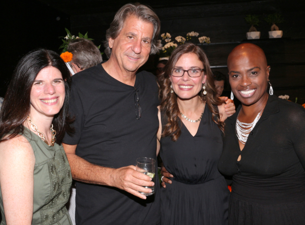 <p>Cast member Marcelle Davies-Lashley (right) joins Hackett, Rockwell, and deBessonet.</p><br />(© David Gordon)