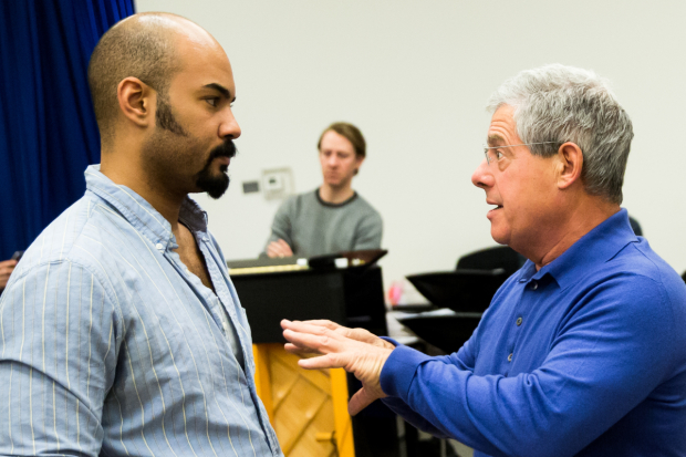 <p>Cast member Nicholas Christopher in discussion with producer Cameron Mackintosh.</p><br />(© Matthew Murphy)