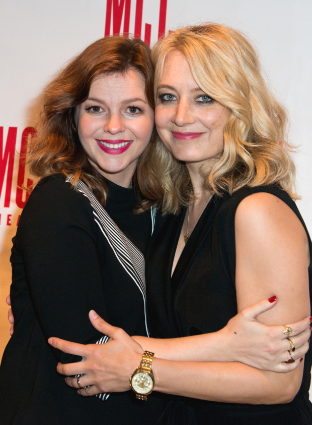 <p>Cast members Amber Tamblyn and Jennifer Mudge share a hug after the show.</p><br />(© Allison Stock)