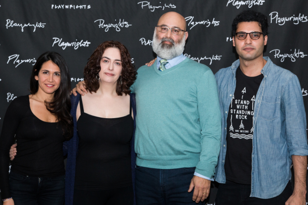 <p>Cast members Francis Benhamou, Lanna Joffrey, Ramsey Faragallah, and Babak Tafti pose for a photo.</p><br />(© Rochelle Torres)