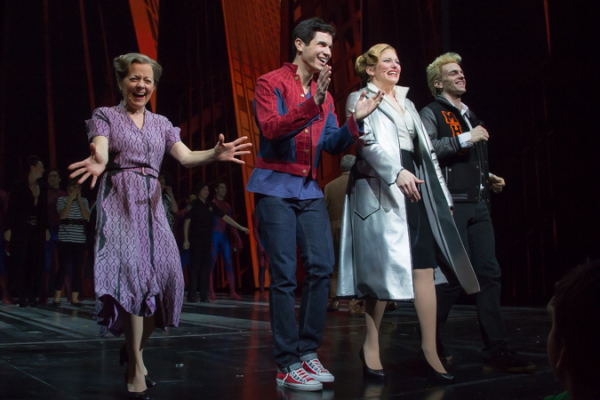 <p>Cast members Isabel Keating, Jason Gotay, Laura Beth Wells, and Jake Odmark take a bow.</p><br />(© Seth Walters)