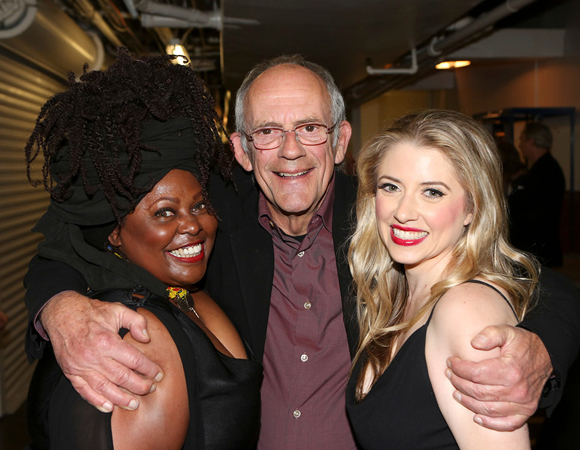 <p>Cast members Johnnie Fiori (left) and Annie Abrams (right) smile for a backstage photo with Christopher Lloyd.</p><br />(© 2013 Ryan Miller/Capture Imaging)
