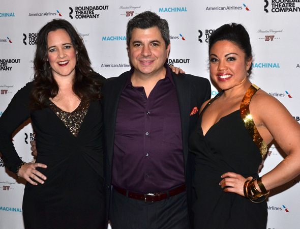 <p>Cast members Karen Walsh, Damian Baldet, and Maria-Christina Oliveras pose for photos on opening night.</p><br />(© David Gordon)