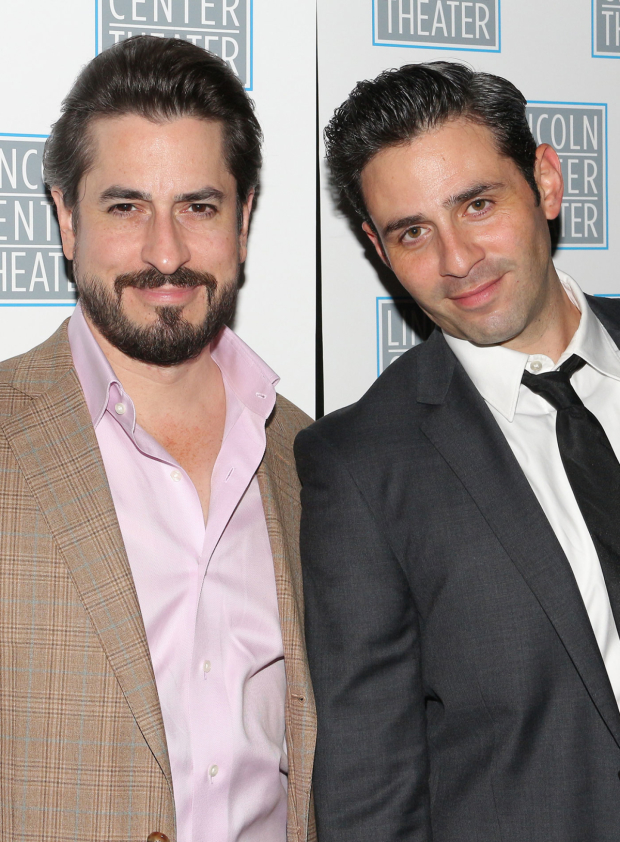 <p>Cast members Matthew Saldivar and Charlie Semine pose for a photo together.</p><br />(© David Gordon)