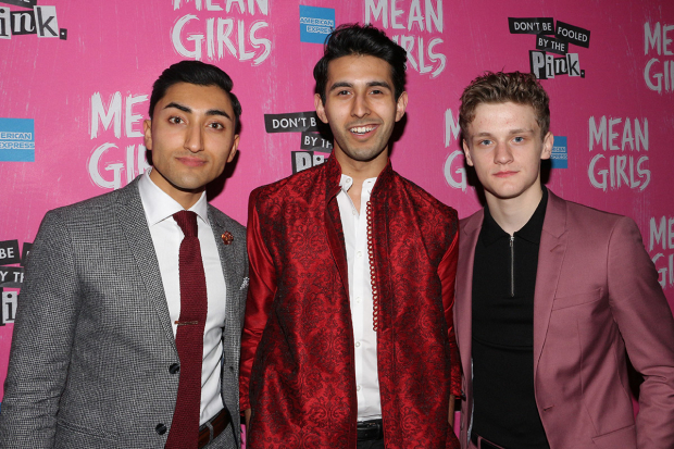 <p>Cast members Nikhil Saboo, Cheech Manohar, and Ben Cook arrive for their after-party.</p><br />(© David Gordon)
