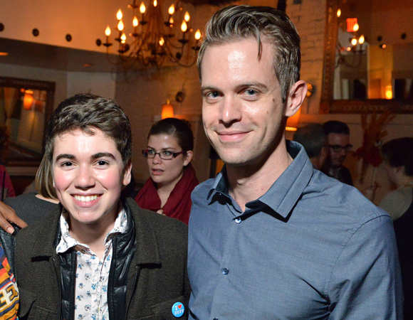 <p>Cast members Noah Galvin and Ben Cole attend the opening night festivities.</p><br />(© Josh Reynolds)