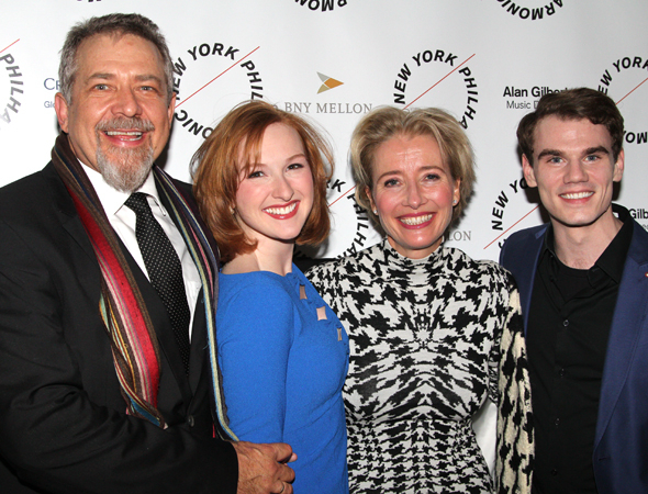 <p>Cast members Philip Quast, Erin Mackey, Emma Thompson, and Jay Armstrong Johnson share a photo together.</p><br />(© David Gordon)
