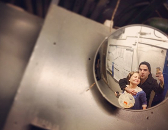 <p>Castmate love with Cherry Jones and Zachary Quinto.</p><br />© (Photo via zacharyquinto)