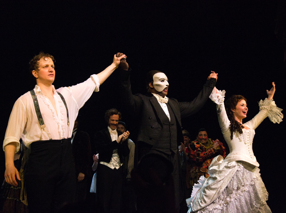 <p>Catch Jeremy Hays, Norm Lewis, and Sierra Boggess at the Majestic Theatre in <em>The Phantom of the Opera</em>.</p><br />(© David Gordon)