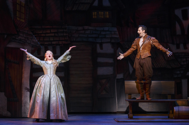 <p>Catherine Brunell and Josh Grisetti play the romantic pair of Portia and Nigel Bottom.</p><br />(© Joan Marcus)