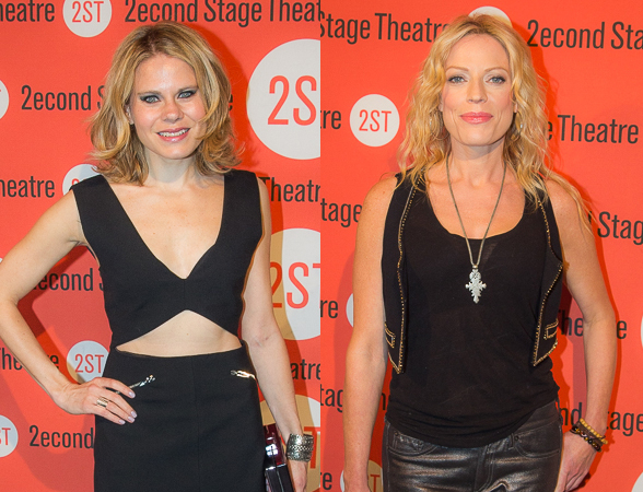 <p>Celia Keenan-Bolger and Sherie Rene Scott look lovely on their way in to the party.</p><br />(© Seth Walters)