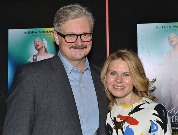 <p>Celia Keenan-Bolger (<em>The Glass Menagerie</em>) and John Ellison Conlee (<em>The (curious case of the) Watson Intelligence</em>) show their support for Audra.</p><br />(© David Gordon)