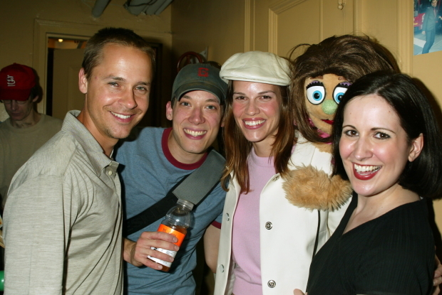 <p>Chad Lowe (center left) and Hilary Swank (center right) are greeted by John Tartaglia, Stephanie d&#39&#x3B;Abruzzo, and Kate Monster.</p><br />(© Joseph Marzullo)