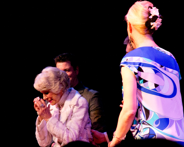 <p>Channing takes a bow as the audience serenades her with &quot&#x3B;Happy Birthday.&quot&#x3B;</p><br />(© David Gordon)