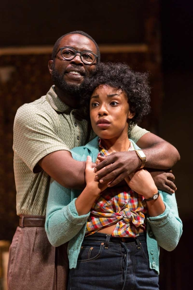 <p>Charlie Hudson III stars as Joseph Asagai opposite Jasmine Batchelor as Beneatha Younger.</p><br />(© T. Charles Erickson)