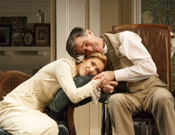 <p>Charlotte Parry and Roger Rees play daughter and father Catherine and Arthur Winslow in <em>The Winslow Boy</em>.</p><br />(© Joan Marcus)