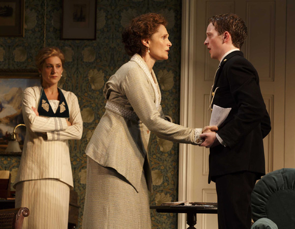 <p>Charlotte Parry, Mary Elizabeth Mastrantonio who plays Grace Winslow, and Spencer David Milford who plays the titular Winslow Boy, Ronnie Winslow.  </p><br />(© Joan Marcus)