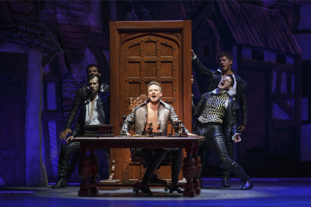 <p>Chase and the <em>Something Rotten!</em> company sing &quot&#x3B;Hard to Be the Bard.&quot&#x3B;</p><br />(© Joan Marcus)