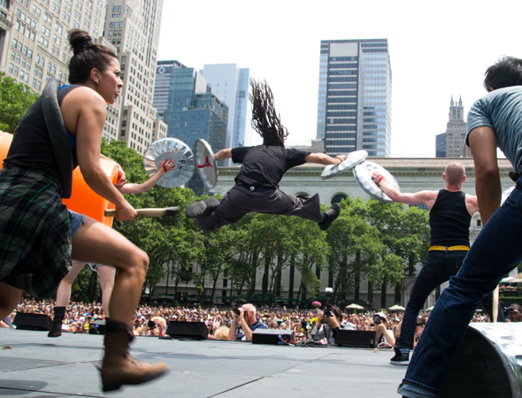 <p>Check out this <em>Stomp</em> cast member flying through the air.</p><br />(© David Gordon)