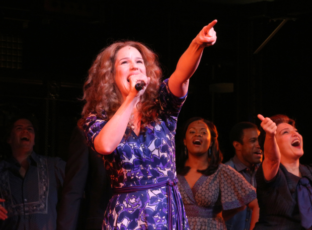 <p>Chilina Kennedy takes her bow after the 1,000th performance of <em>Beautiful — The Carole King Musical</em>.</p><br />(© David Gordon)