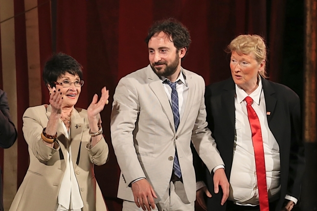 <p>Chita Rivera, Jeremy McCarter, and Meryl Streep (as Donald Trump) take the stage at the Delacorte Theatre.</p><br />(© Tricia Baron)