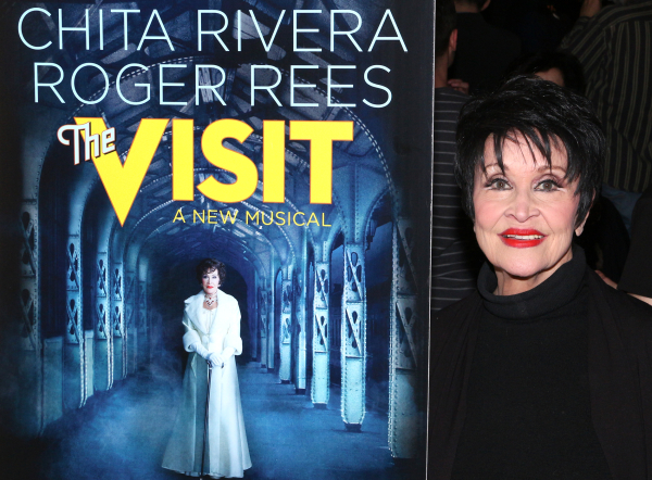 <p>Chita Rivera poses with the poster bearing her likeness.</p><br />(© David Gordon)