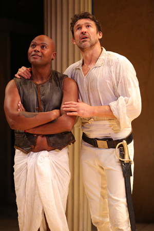 <p>Chivas Michael and Jonathan Cake take the stage at the Public Theater.</p><br />(© Joan Marcus)