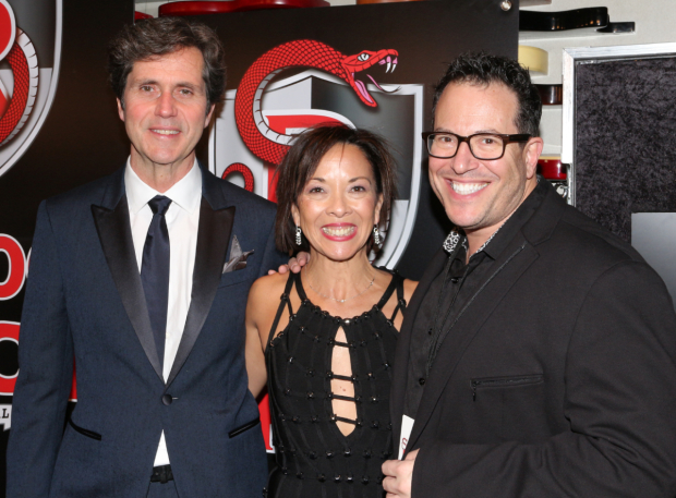<p>Choreographer JoAnn M. Hunter poses for photos with her two favorite Broadway gents, her husband, sound designer Brian Ronan (left), and director Michael Mayer (right).</p><br />(© David Gordon)