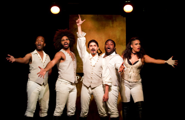 <p>Chris Anthony Giles, Nicholas Edwards, Dan Rosales, Juwan Crawley, and Nora Schell make up the cast of <em>Spamilton</em>.</p>