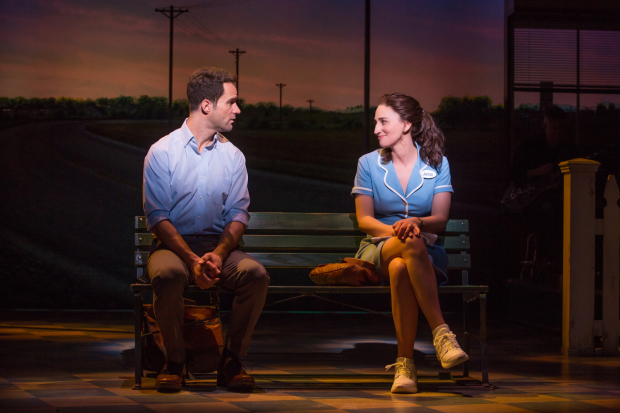 <p>Chris Diamantopoulos and Sara Bareilles share a scene.</p><br />(© Jeremy Daniel)