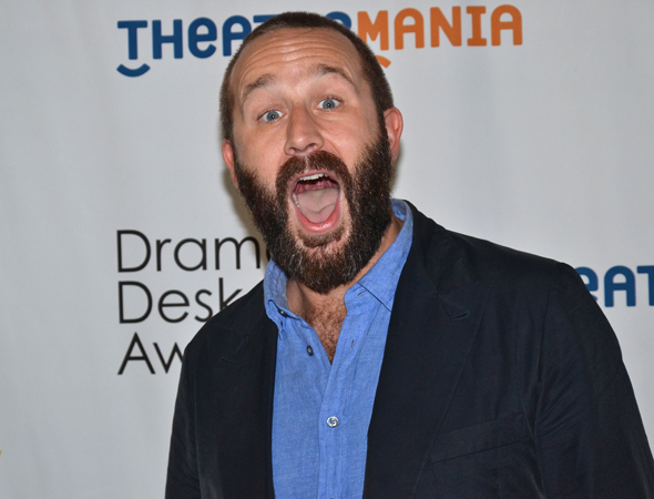 <p>Chris O&#39&#x3B;Dowd excitedly celebrates his Outstanding Actor in a Play nomination.</p><br />(© David Gordon)