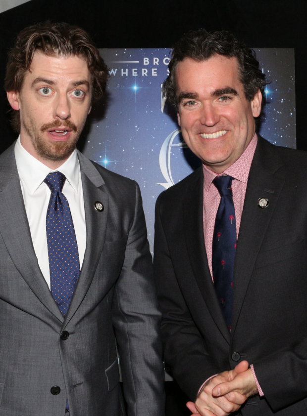 <p>Christian Borle, Best Featured Actor in a Musical nominee, and Brian d&#39&#x3B;Arcy James, Best Leading Actor in a Musical nominee, for <em>Something Rotten!</em></p><br />(© David Gordon)