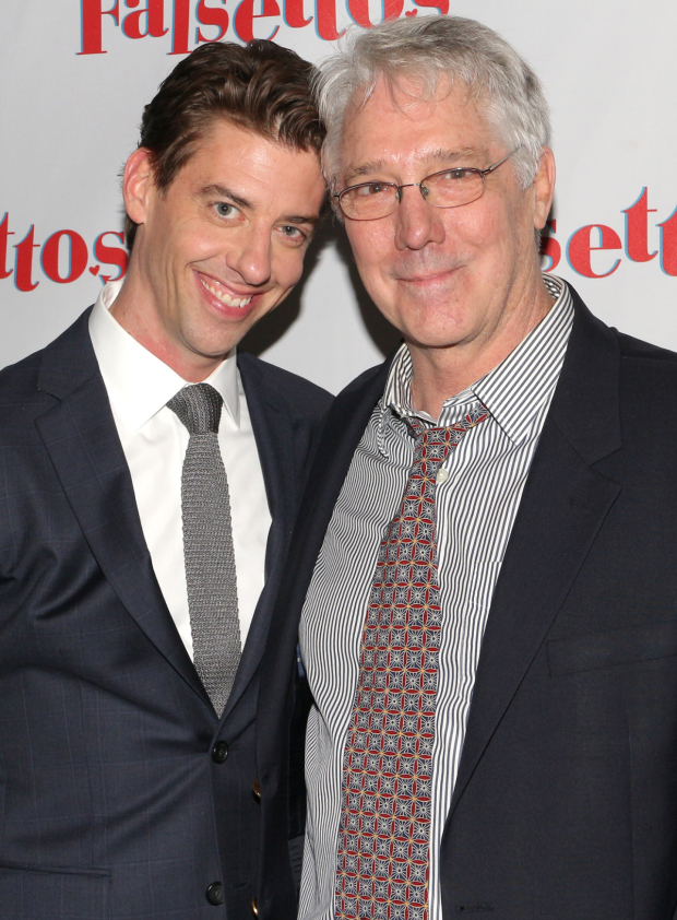 <p>Borle takes a photo with Michael Rupert, the original Marvin.</p><br />(© David Gordon)