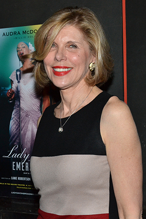 <p>Christine Baranski smiles for the cameras on her way into the theater.</p><br />(© David Gordon)