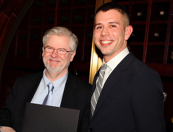 <p>Christopher Durang, winner of the Hull-Warriner Award for his play, <em>Vanya and Sonia and Masha and Spike</em>, shares a happy moment with presenter Stephen Karam.</p><br />(© Douglas Gorenstein)