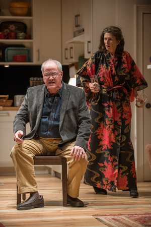 <p>Christopher (Fran Guinan) and Beth (Molly Regan) get worked up preparing for the arrival of their son, Billy, and his new girlfriend.</p><br />(© BROSILOW)