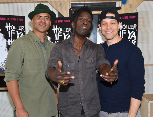 <p>Christopher Jackson, Saul Williams, and Ben Thompson play leading roles in <em>Holler If Ya Hear Me</em>.</p><br />(© David Gordon)