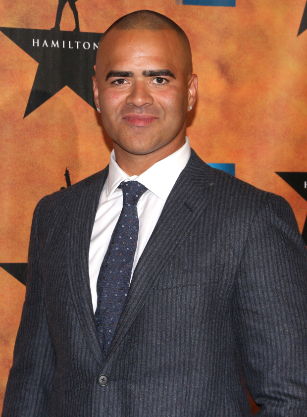<p><em>In the Heights</em> original Christopher Jackson takes on the role of George Washington.</p><br />(© David Gordon)