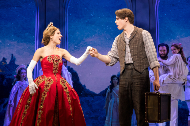 <p>Christy Altomare and Derek Klena take each other&#39&#x3B;s hand in a scene from <em>Anastasia</em>.</p><br />(© Matthew Murphy)